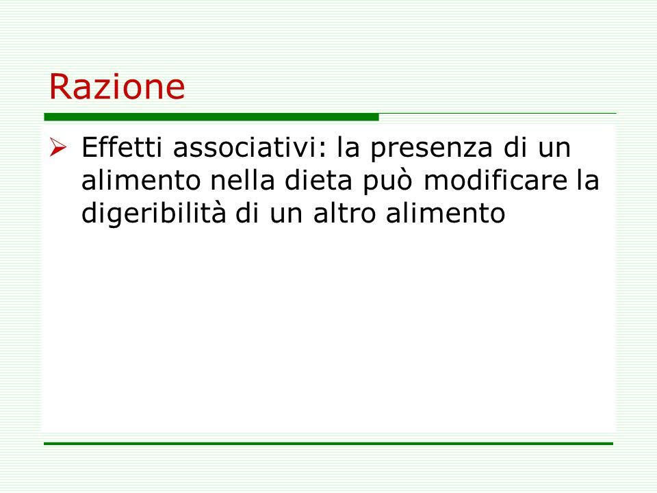 RazioneEffetti associativi: la presenza di un alimento nella dieta può modificare la digeribilità di un altro alimento.