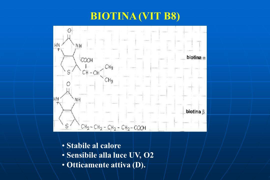 BIOTINA (VIT B8) Stabile al calore Sensibile alla luce UV, O2