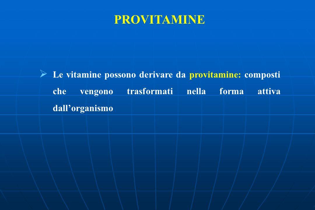 PROVITAMINE Le vitamine possono derivare da provitamine: composti che vengono trasformati nella forma attiva dall'organismo.