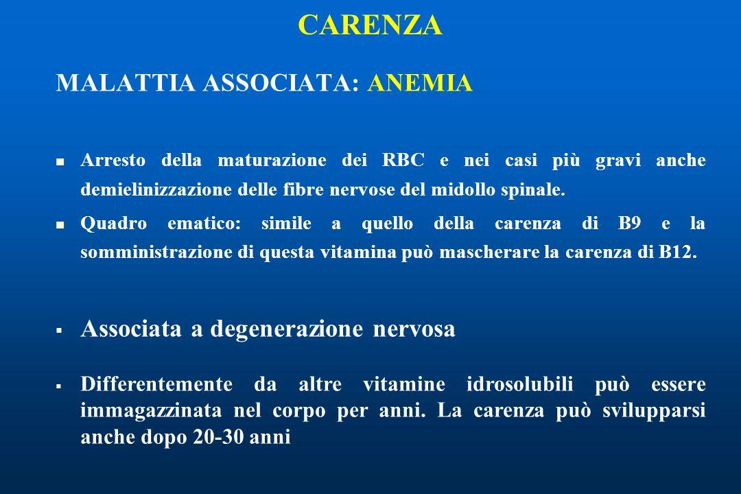 CARENZA MALATTIA ASSOCIATA: ANEMIA Associata a degenerazione nervosa