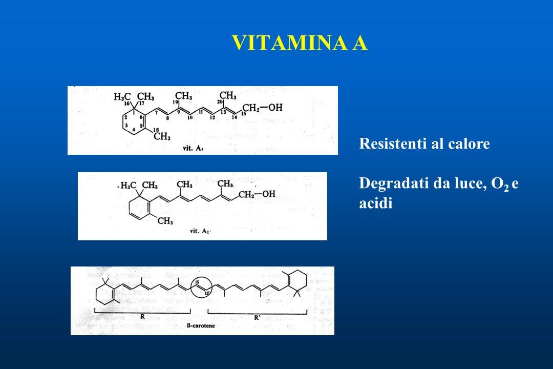 VITAMINA A Resistenti al calore Degradati da luce, O2 e acidi