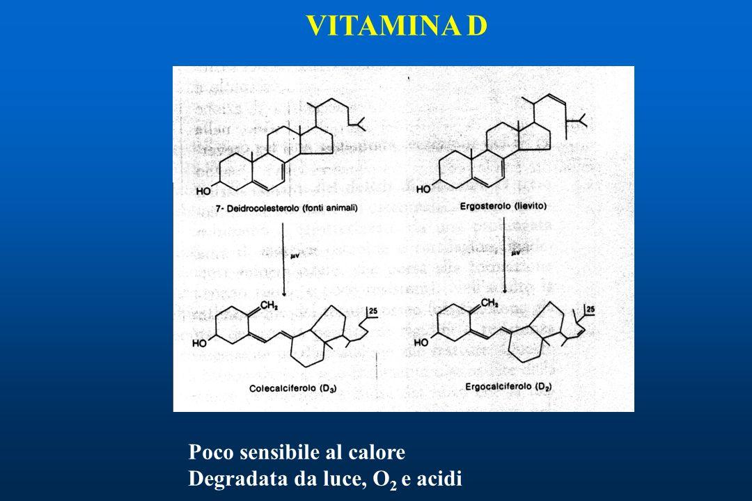 VITAMINA D Poco sensibile al calore Degradata da luce, O2 e acidi