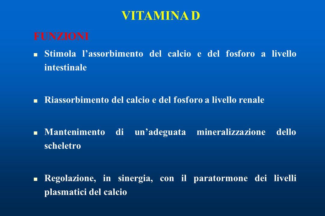 VITAMINA D FUNZIONI. Stimola l'assorbimento del calcio e del fosforo a livello intestinale.
