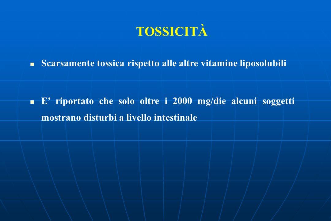 TOSSICITÀ Scarsamente tossica rispetto alle altre vitamine liposolubili.