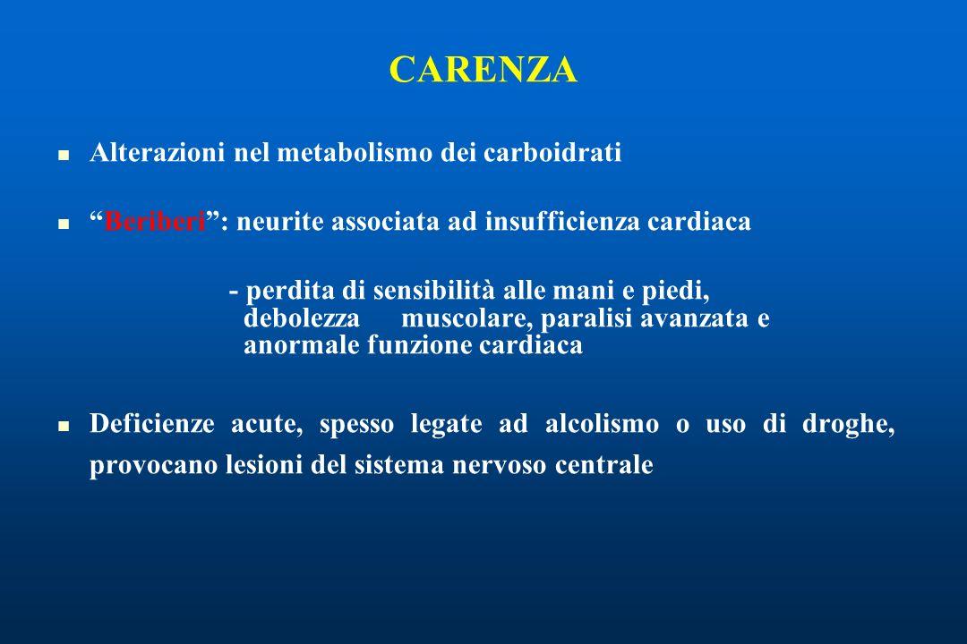 CARENZA Alterazioni nel metabolismo dei carboidrati
