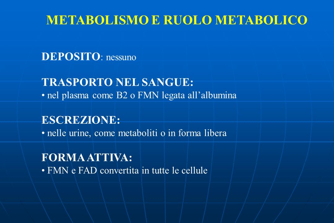 METABOLISMO E RUOLO METABOLICO