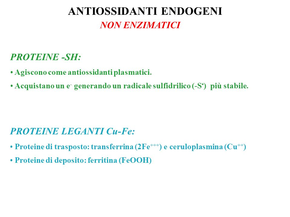 ANTIOSSIDANTI ENDOGENI