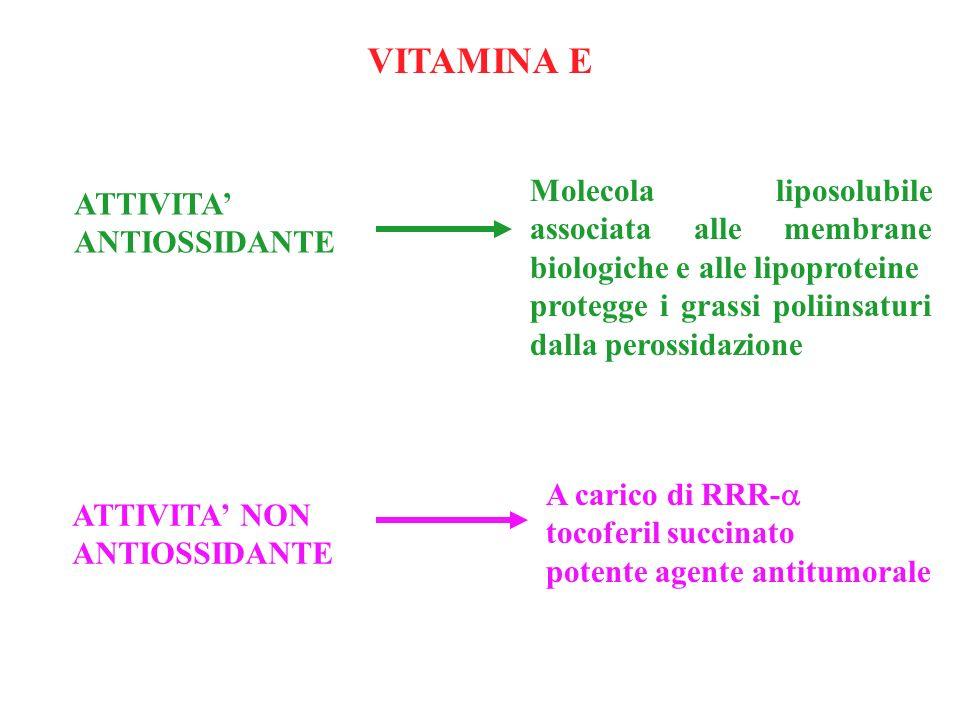VITAMINA E Molecola liposolubile associata alle membrane biologiche e alle lipoproteine. protegge i grassi poliinsaturi dalla perossidazione.