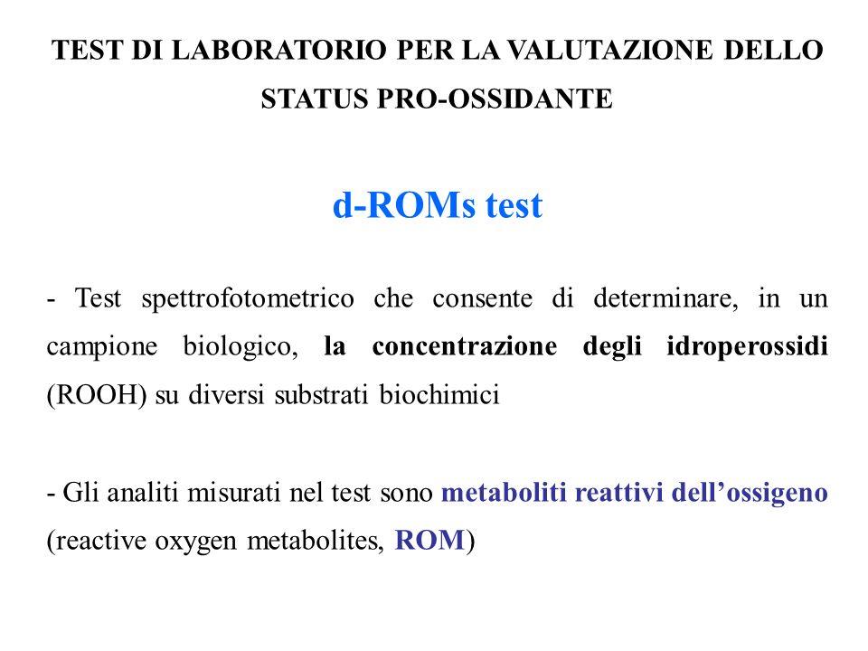 TEST DI LABORATORIO PER LA VALUTAZIONE DELLO STATUS PRO-OSSIDANTE