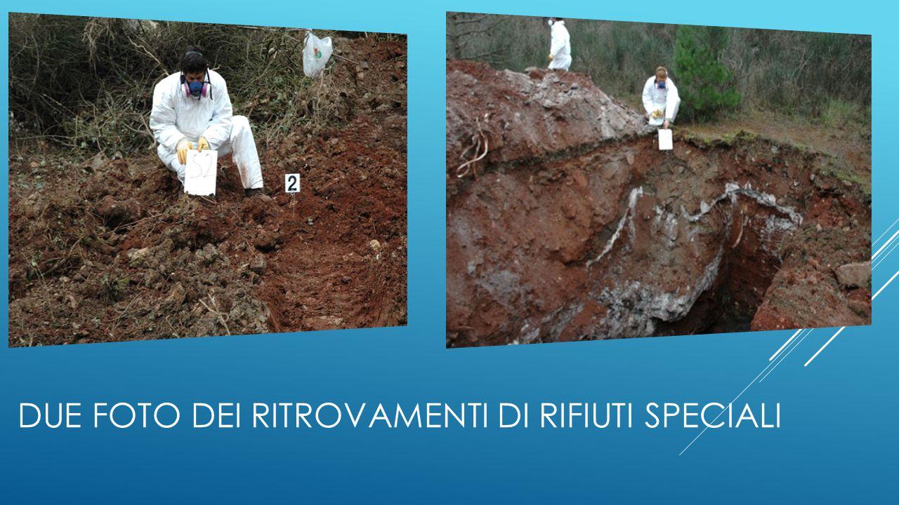 Due foto dei ritrovamenti di rifiuti speciali