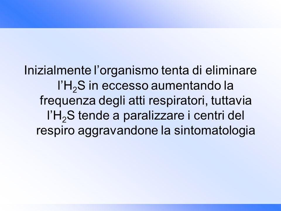 Inizialmente l'organismo tenta di eliminare l'H2S in eccesso aumentando la frequenza degli atti respiratori, tuttavia l'H2S tende a paralizzare i centri del respiro aggravandone la sintomatologia