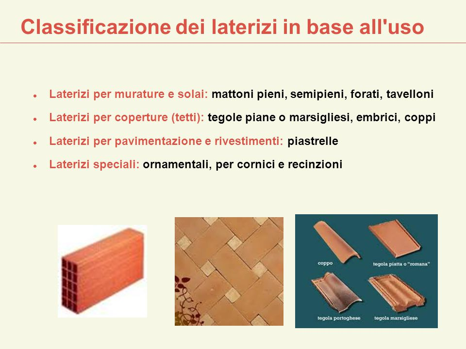 Classificazione dei laterizi in base all uso