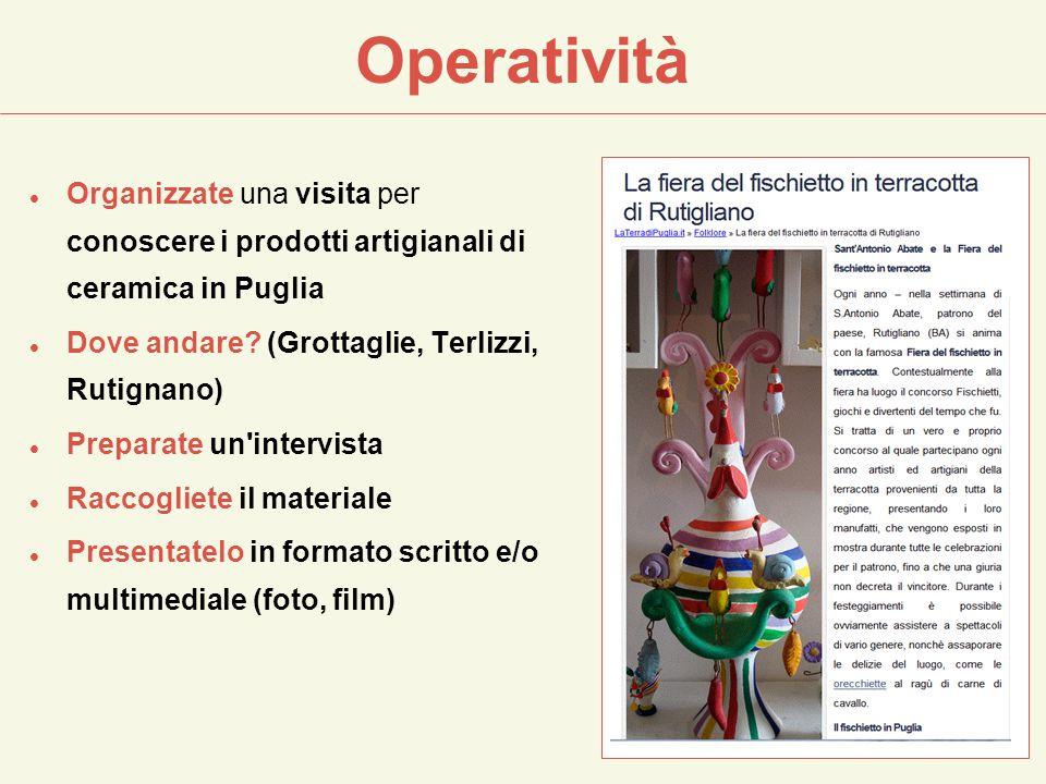 Operatività Organizzate una visita per conoscere i prodotti artigianali di ceramica in Puglia. Dove andare (Grottaglie, Terlizzi, Rutignano)