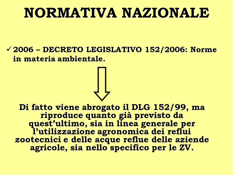 NORMATIVA NAZIONALE2006 – DECRETO LEGISLATIVO 152/2006: Norme in materia ambientale.