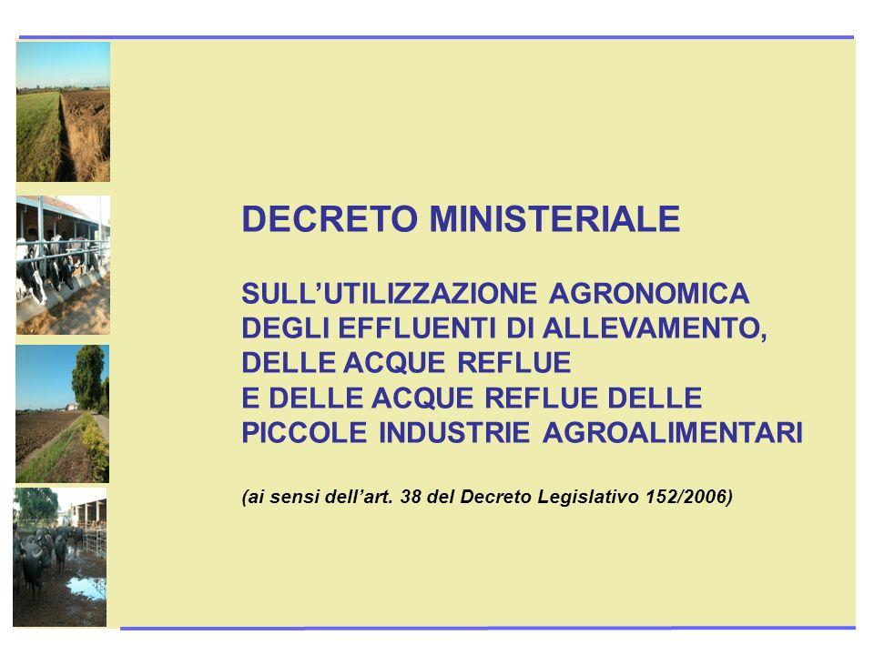 DECRETO MINISTERIALE SULL'UTILIZZAZIONE AGRONOMICA