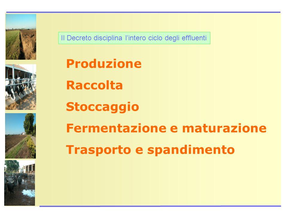 Fermentazione e maturazione Trasporto e spandimento