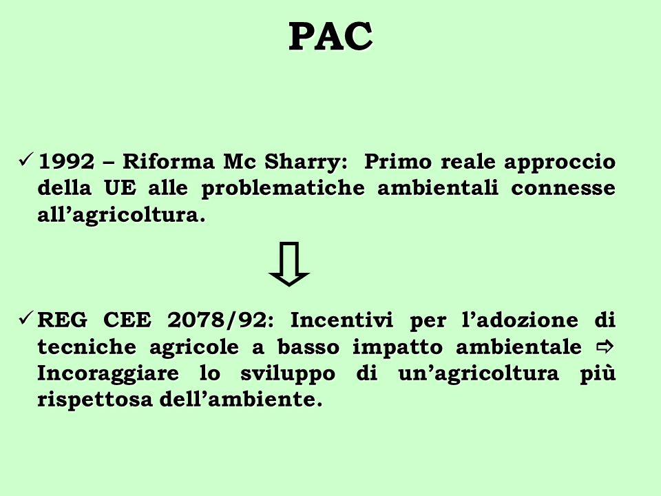 PAC 1992 – Riforma Mc Sharry: Primo reale approccio della UE alle problematiche ambientali connesse all'agricoltura.