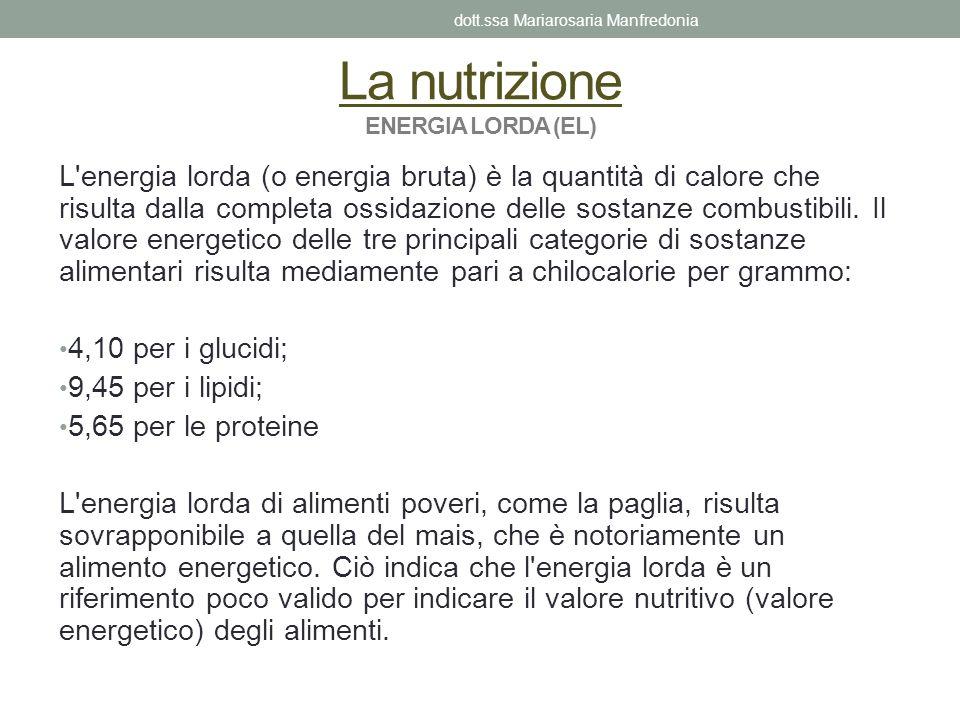 La nutrizione ENERGIA LORDA (EL)