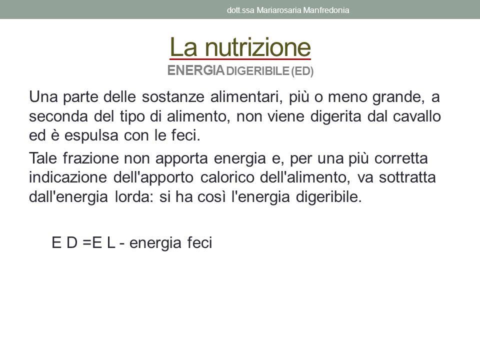 La nutrizione ENERGIA DIGERIBILE (ED)