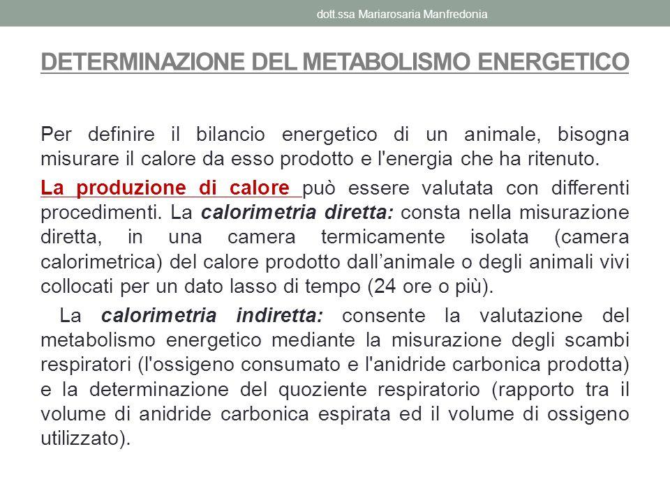 DETERMINAZIONE DEL METABOLISMO ENERGETICO