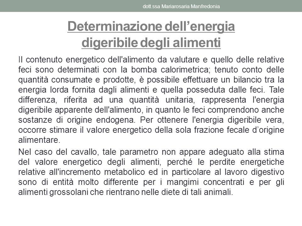 Determinazione dell'energia digeribile degli alimenti