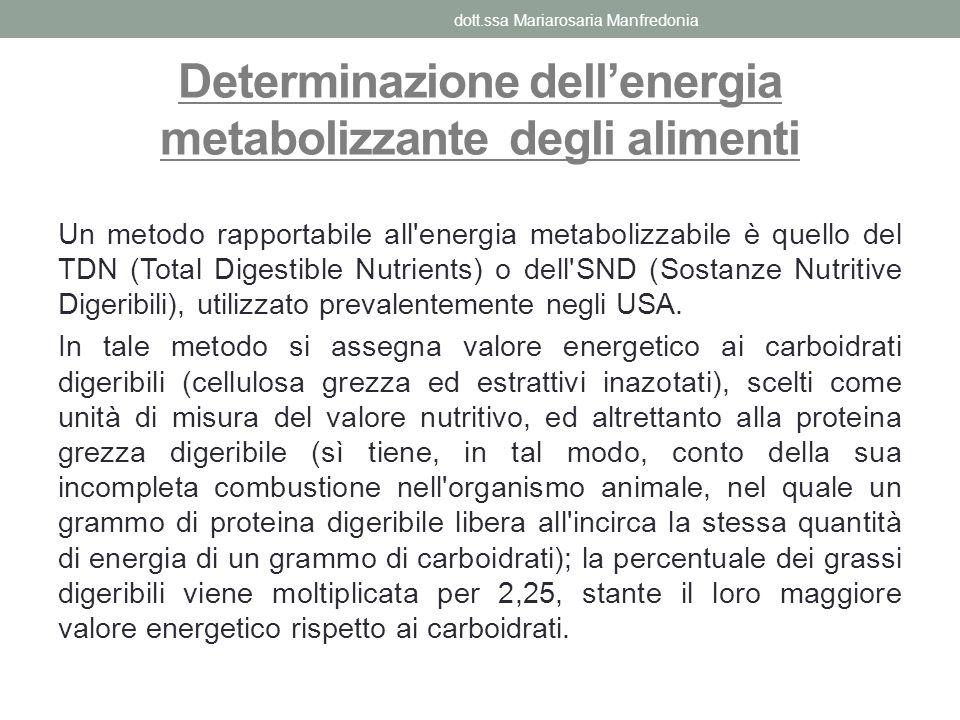 Determinazione dell'energia metabolizzante degli alimenti