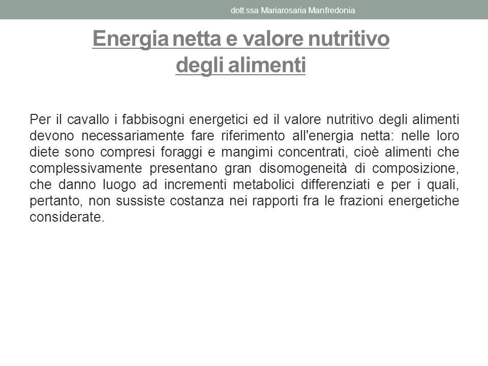 Energia netta e valore nutritivo degli alimenti