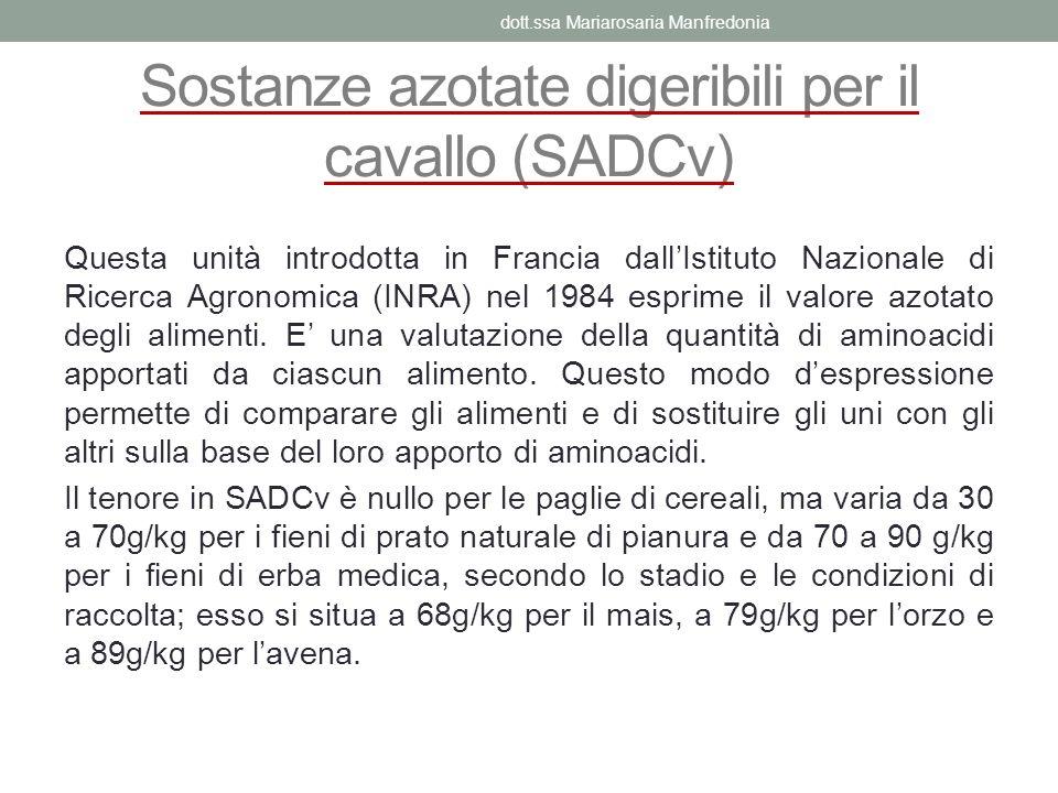 Sostanze azotate digeribili per il cavallo (SADCv)