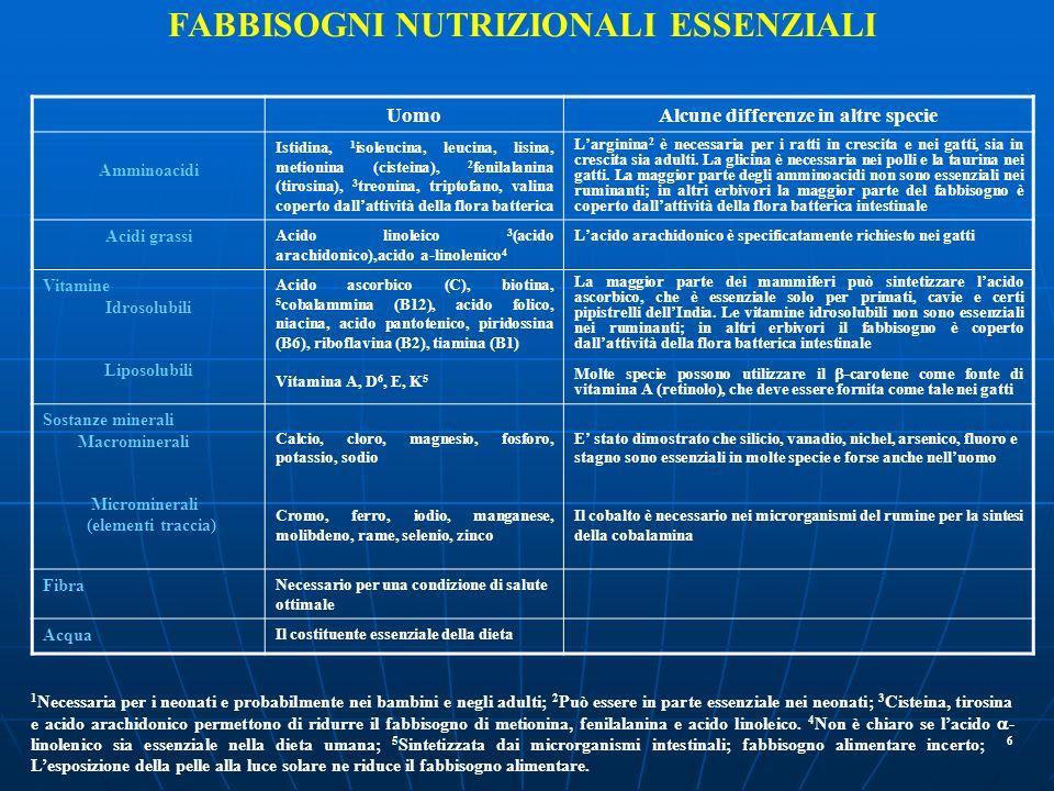 FABBISOGNI NUTRIZIONALI ESSENZIALI