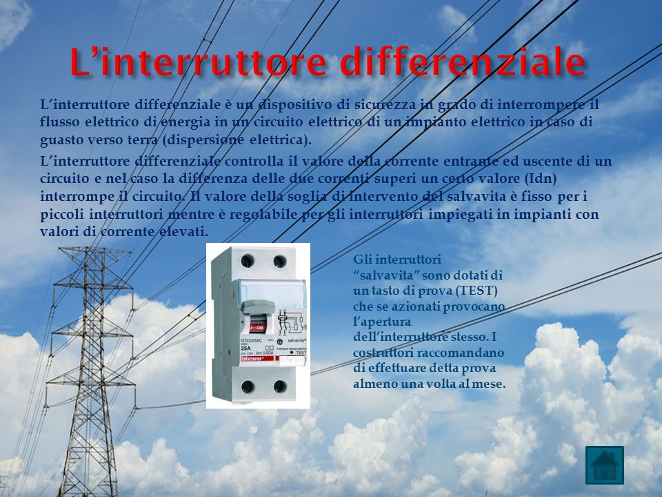 L'interruttore differenziale