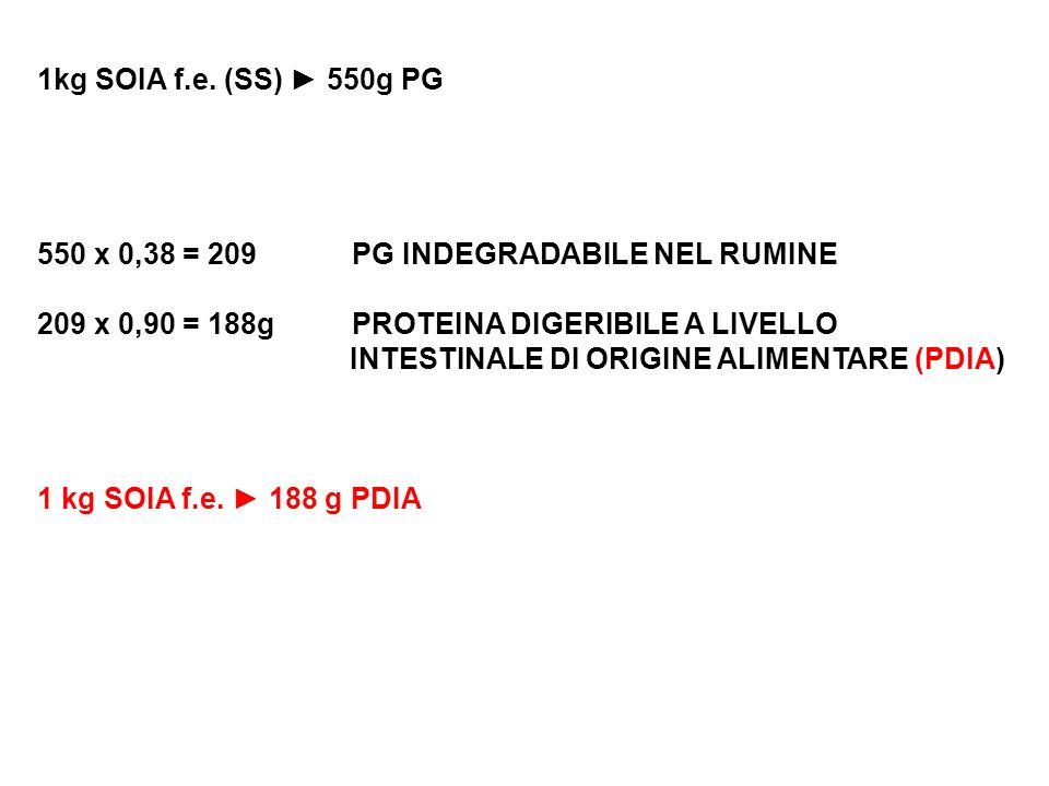 1kg SOIA f.e. (SS) ► 550g PG 550 x 0,38 = 209 PG INDEGRADABILE NEL RUMINE. 209 x 0,90 = 188g PROTEINA DIGERIBILE A LIVELLO.