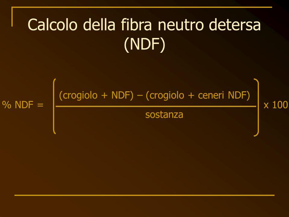 Calcolo della fibra neutro detersa (NDF)