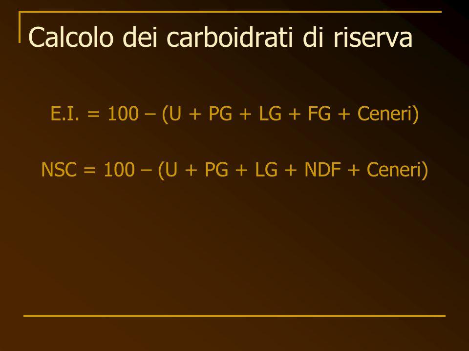 Calcolo dei carboidrati di riserva
