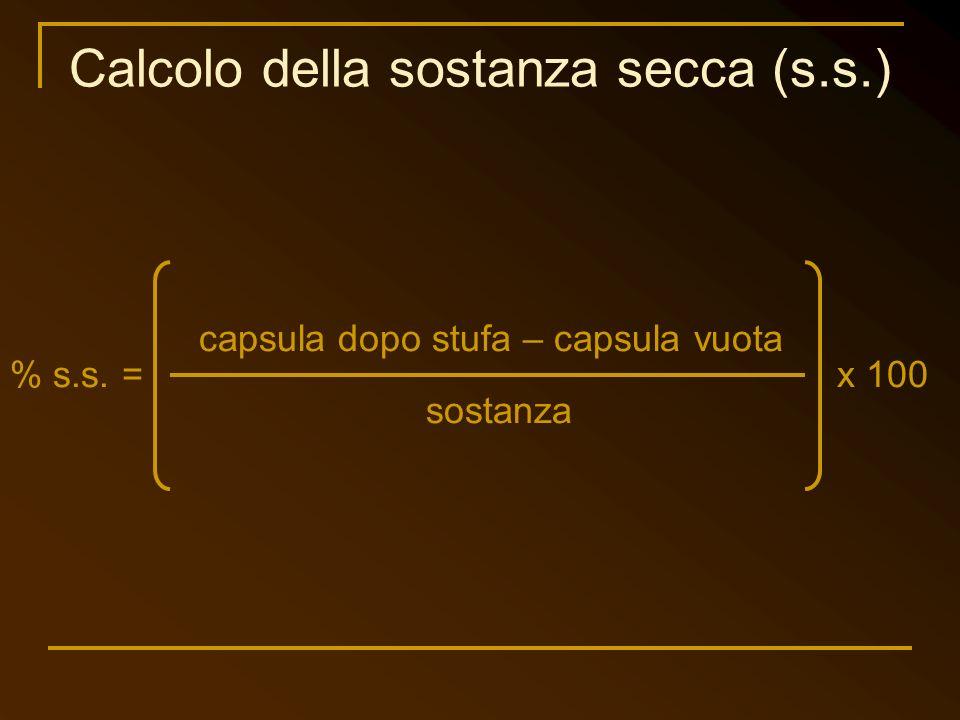 Calcolo della sostanza secca (s.s.)