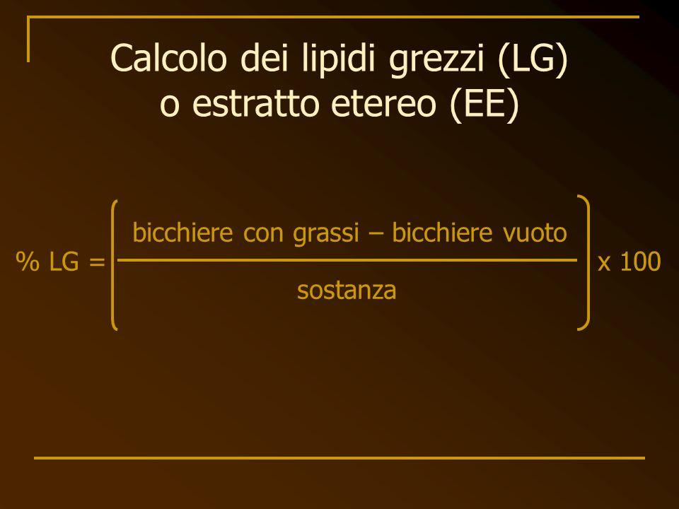 Calcolo dei lipidi grezzi (LG) o estratto etereo (EE)