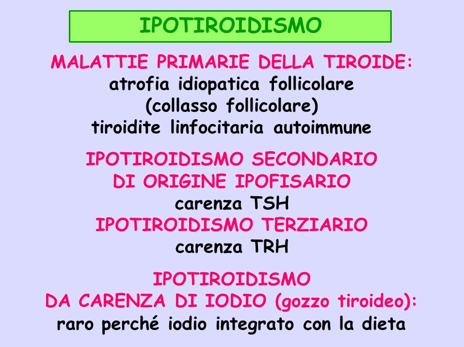 IPOTIROIDISMO MALATTIE PRIMARIE DELLA TIROIDE:
