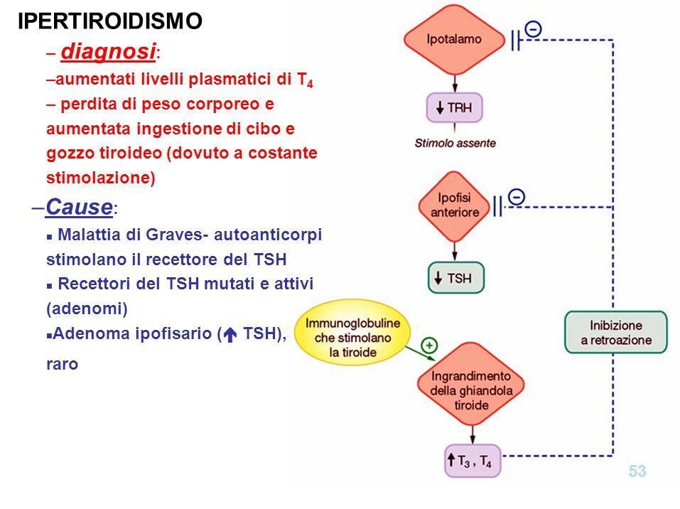 IPERTIROIDISMO Cause: diagnosi: aumentati livelli plasmatici di T4