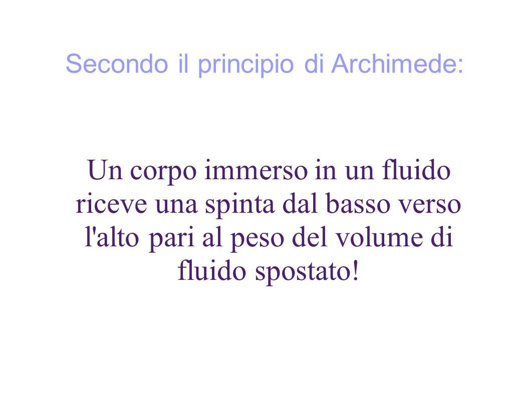 Secondo il principio di Archimede: