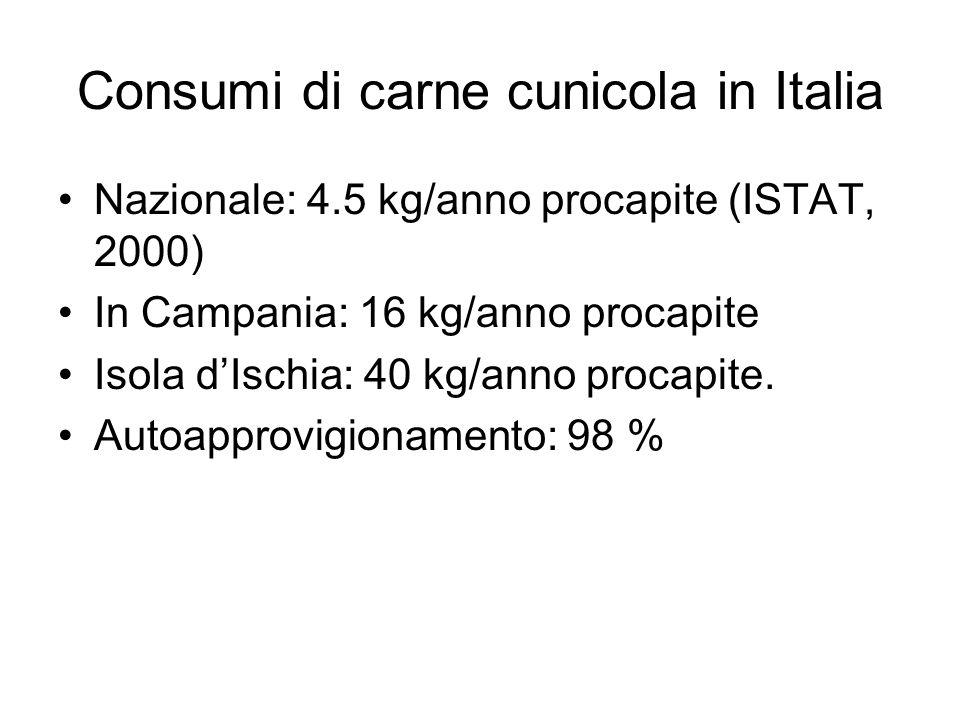 Consumi di carne cunicola in Italia