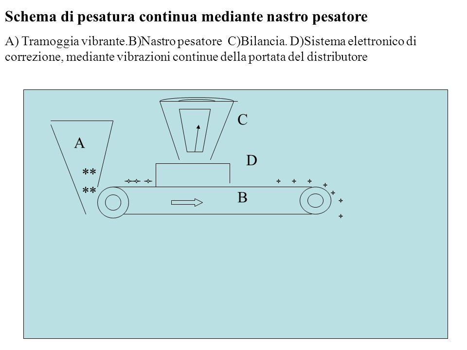 Schema di pesatura continua mediante nastro pesatore