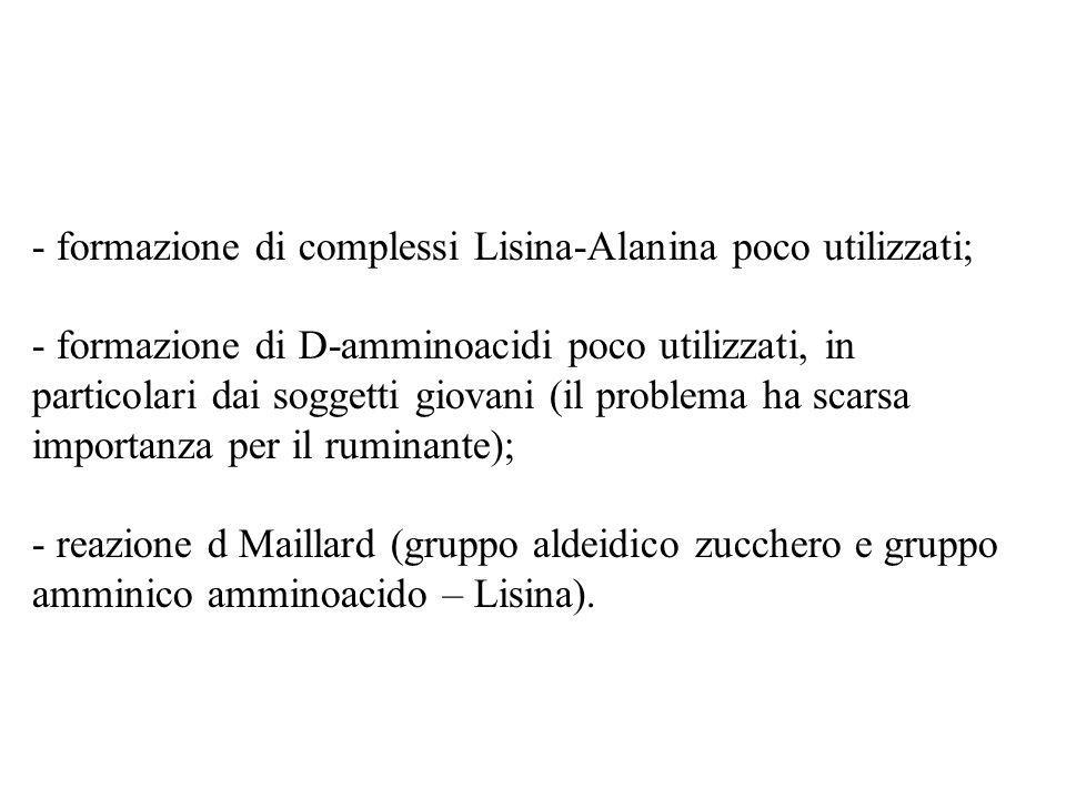 formazione di complessi Lisina-Alanina poco utilizzati;