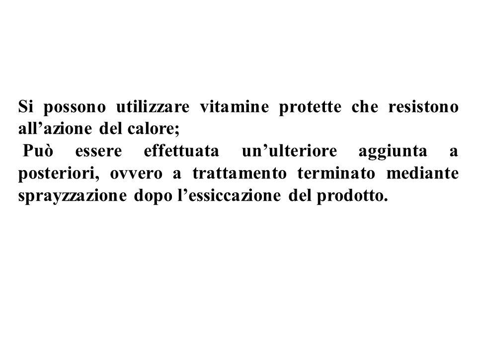 Si possono utilizzare vitamine protette che resistono all'azione del calore;