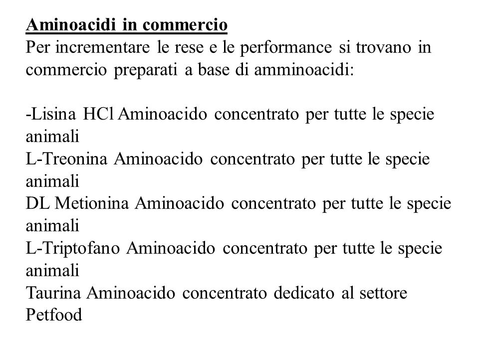Aminoacidi in commercio