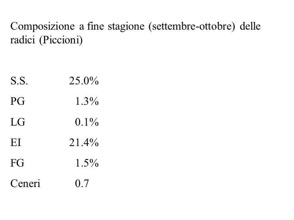 Composizione a fine stagione (settembre-ottobre) delle radici (Piccioni)