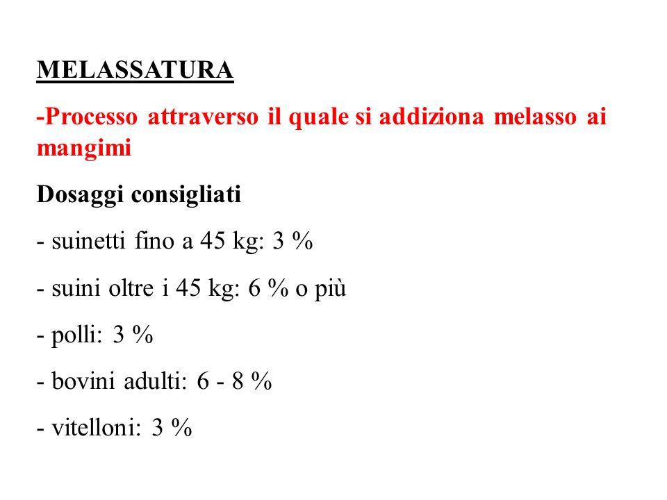 MELASSATURA -Processo attraverso il quale si addiziona melasso ai mangimi. Dosaggi consigliati. ‑ suinetti fino a 45 kg: 3 %