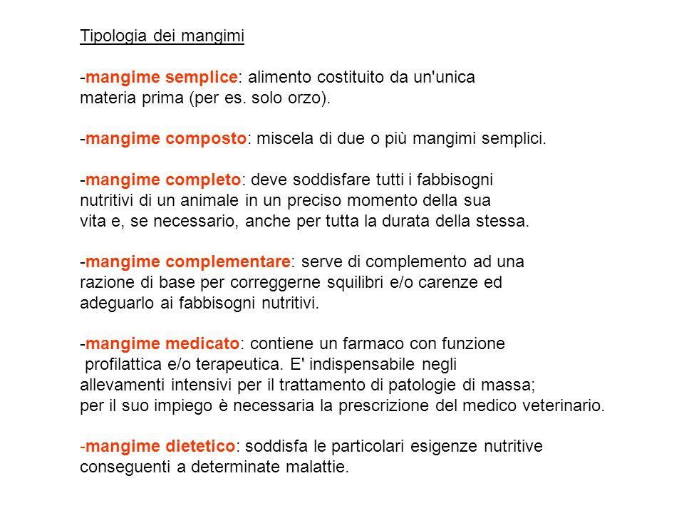 Tipologia dei mangimi ‑mangime semplice: alimento costituito da un unica. materia prima (per es. solo orzo).