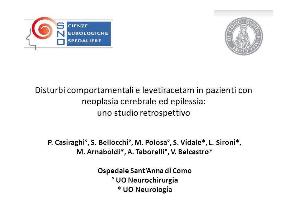 Disturbi comportamentali e levetiracetam in pazienti con neoplasia cerebrale ed epilessia: uno studio retrospettivo