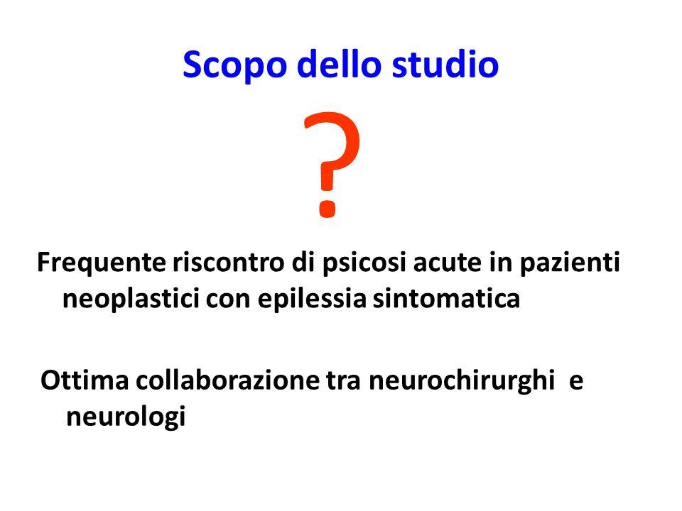 Scopo dello studio Frequente riscontro di psicosi acute in pazienti neoplastici con epilessia sintomatica.