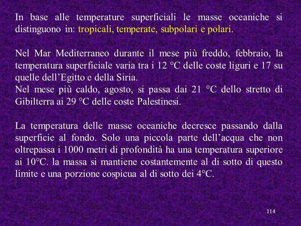 In base alle temperature superficiali le masse oceaniche si distinguono in: tropicali, temperate, subpolari e polari.
