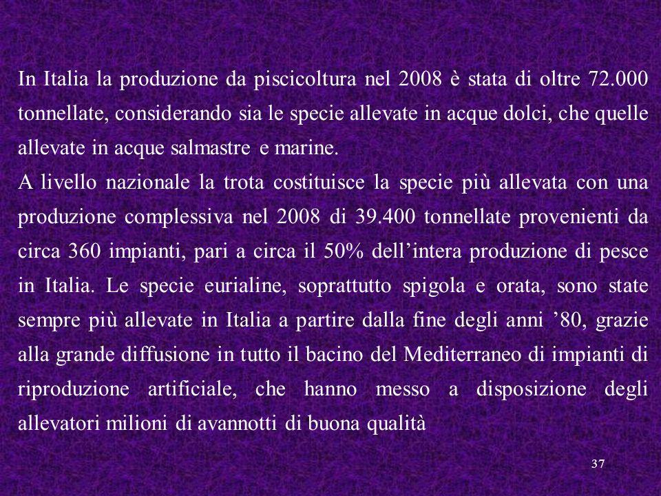 In Italia la produzione da piscicoltura nel 2008 è stata di oltre 72